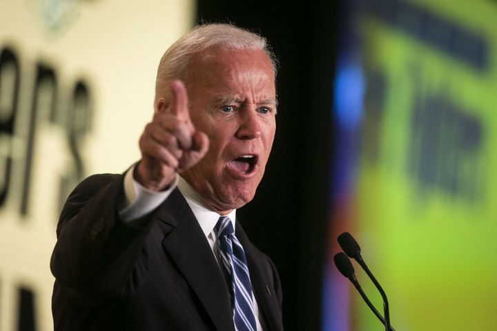 Joe Biden speaks at the International Association of Fire Fighters' legislative conference in March. The union endorsed Biden