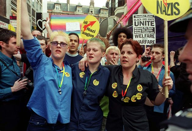Demonstrators march through Westminster, London, in protest at the Brixton, Brick Lane and Soho nail...