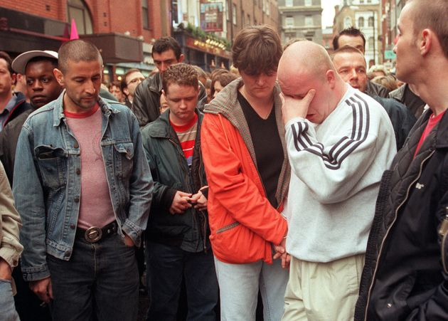 Emotional scenes outside the Admiral Duncan pub when it