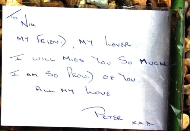 A card for Nik Moore, who died in the blast, from his partner