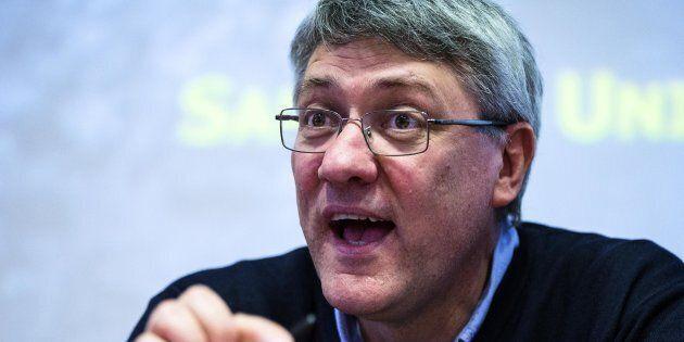 il segretario generale Fiom-Cgil Maurizio Landini durante la presentazione