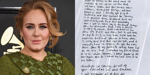 In una lettera scritta a mano, Adele spiega ai fan perché (probabilmente) non tornerà mai più in