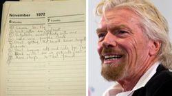 La lista dei buoni propositi che il miliardario Richard Branson scrisse nel 1972 svela i segreti del suo