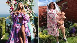 Ecco come sarebbero state le foto di Beyoncé coi gemelli se fosse stata una mamma
