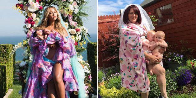 Una mamma imita le foto di Beyoncé coi suoi gemelli, ma il risultato non è lo