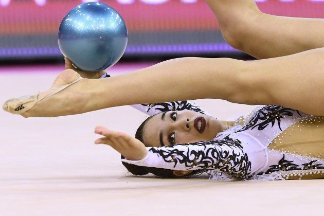 epa05979034 Alexandra Agiurgiuculese of Italy competes in the individual senior ball finals of the 33rd...