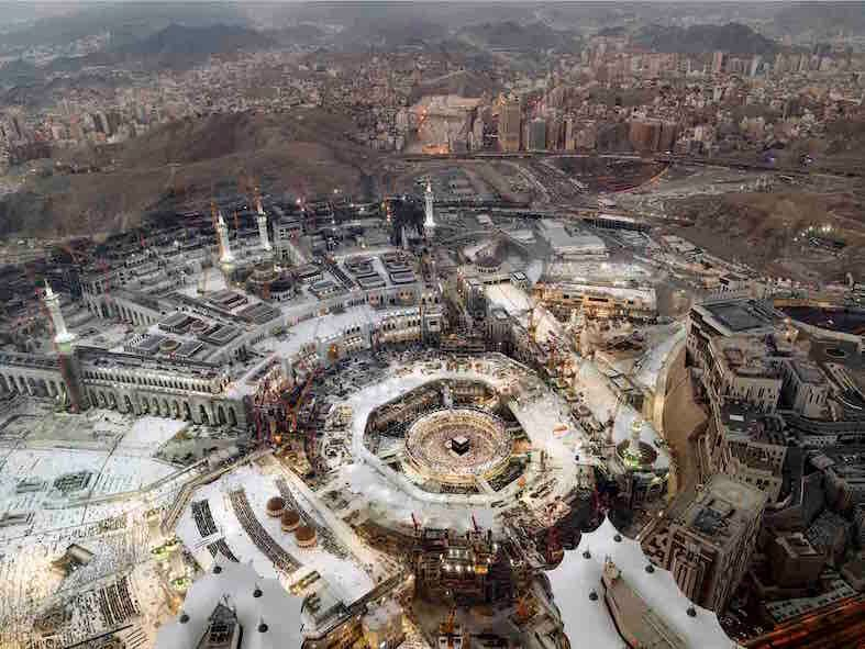 A view of the Grand Mosque from the Royal Suite of the Fairmont Makkah Clock Royal Tower. Stays at this...
