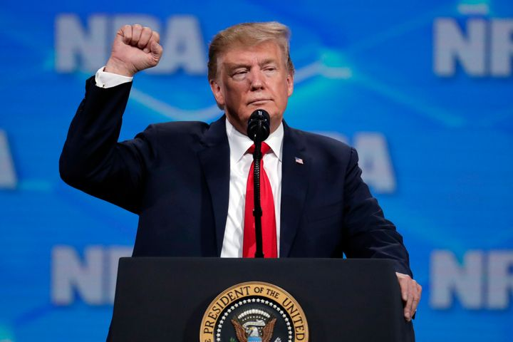 President Donald Trump spoke at the National Rifle Association Institute for Legislative Action Leadership Forum in Indianapo