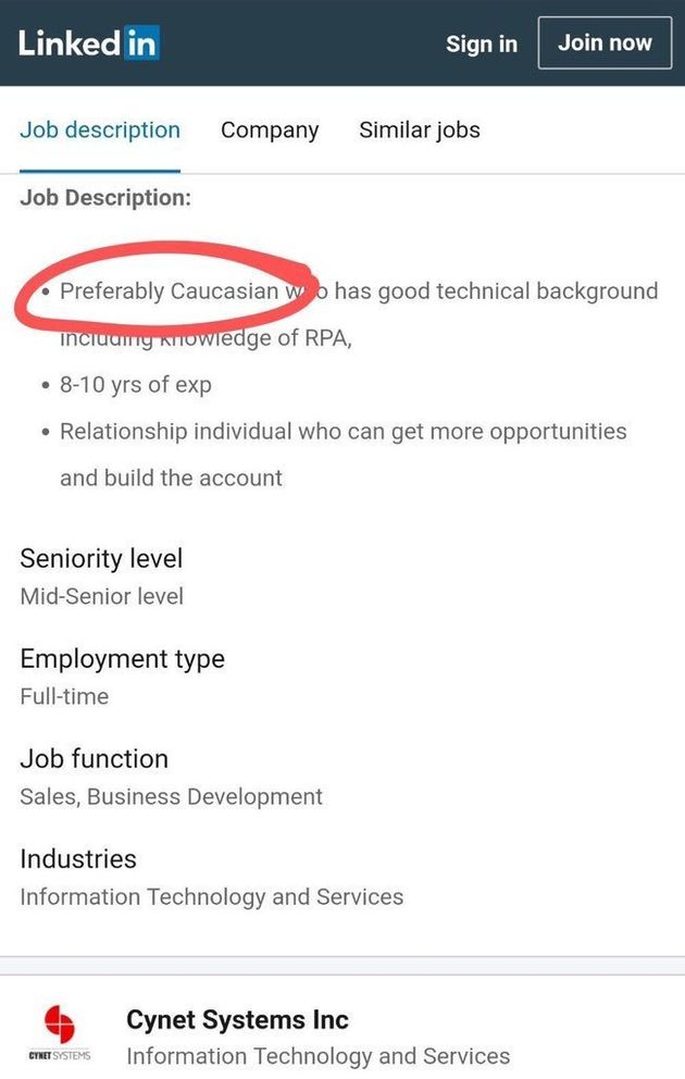 Tech Company Asked For 'Preferably Caucasian' Candidate On LinkedIn Job