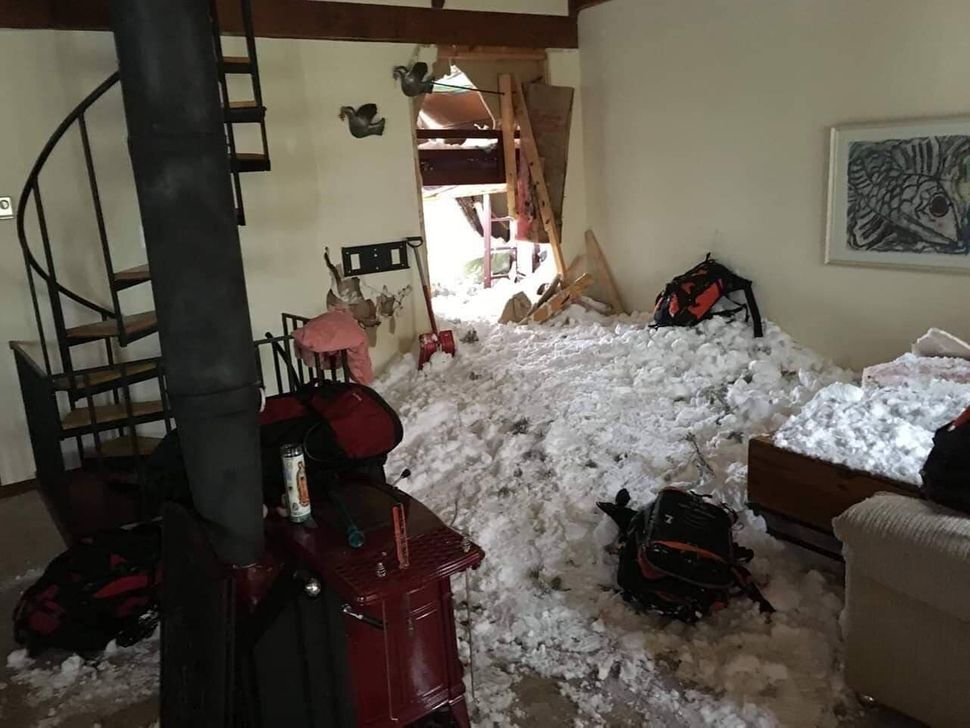 The living room of Hunt's house after the avalanche.