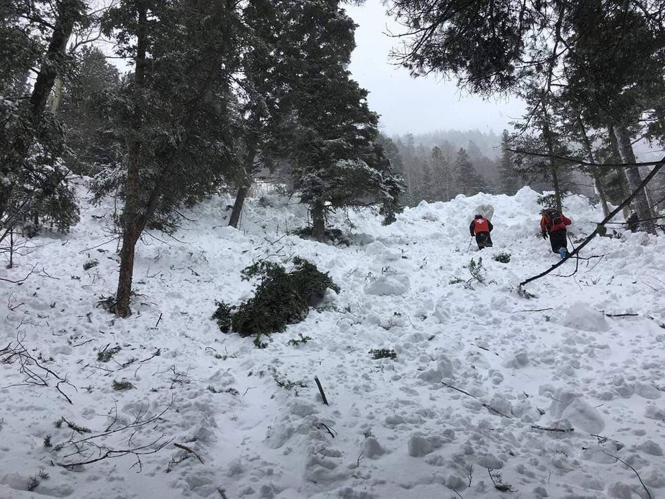 Rescue workers trudging through the avalanche's path of destruction.