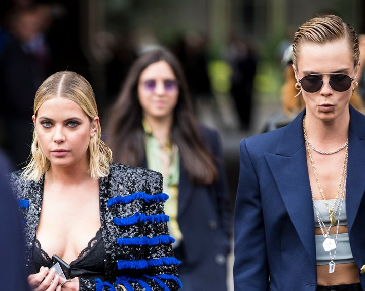 Ashley Benson and Cara Delevigne spotted out together in 2018 after a Paris fashion show.