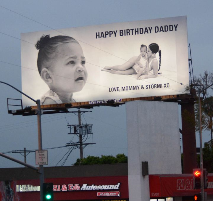 Kylie Jenner's billboard for Travis Scott's birthday, seen on April 26 in Los Angeles.
