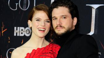 """NEW YORK, NY - APRIL 3: Rose Leslie and Kit Harrington attend """"Game Of Thrones"""" New York Premiere at Radio City Music Hall, NYC on April 3, 2019 in New York City. (Photo by Paul Bruinooge/Patrick McMullan via Getty Images)"""