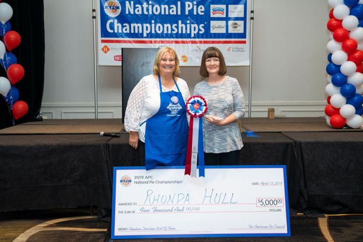 Rhonda Hull (left) took the top prize in Amateur Best in Show and six other categories at the 2019 National Pie Championships.