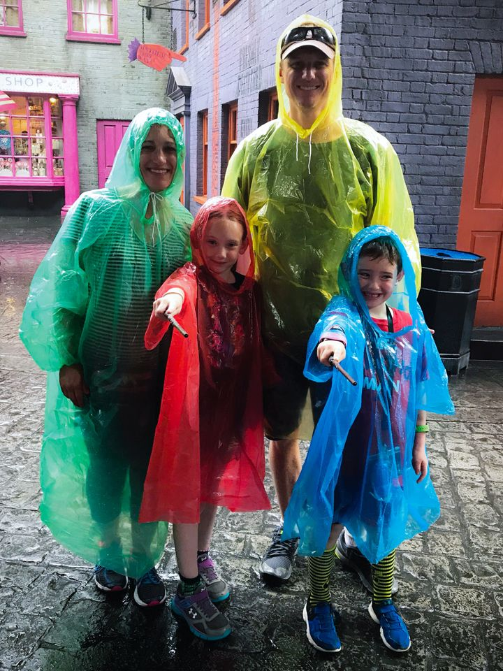 Karen Alpert and family are prepared in their ponchos!