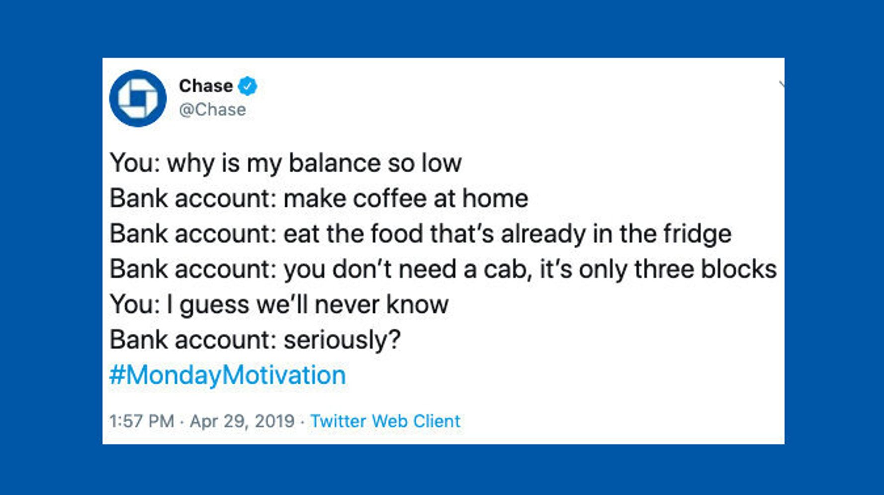 Twitter Users Blast Chase Bank Over Tone-Deaf Tweet About