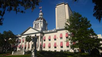 FILE - This Tuesday April 23, 2019 file photo shows the Florida Capitol in Tallahassee, Fla. On Monday, April 29, the Florida Legislature heads into its final scheduled week with a host of major issues still to be settled, including a roughly $90 billion state budget that is the only bill lawmakers must pass. (AP Photo/Phil Sears)