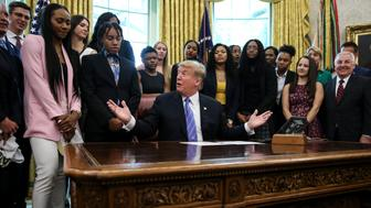 President Donald Trump speaks as he welcomes the 2019 NCAA Division I Women�s Basketball National Champions, Baylor Lady Bears in the State Dining Room of the White House on April 29, 2019 in Washington, DC. (Photo by Oliver Contreras/SIPA USA)