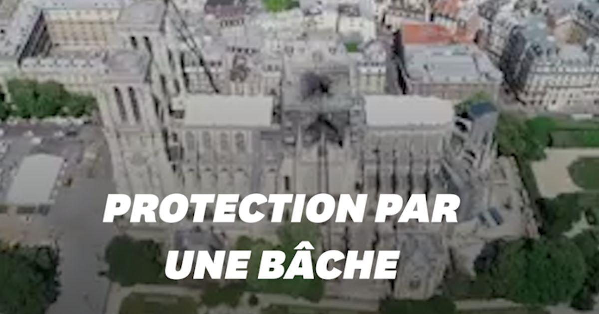Les images de la bâche de protection de Notre-Dame