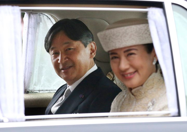 Crown Prince Naruhito and Crown Princess Masako arrive at the Imperial Palace to attend the ceremony of Emperor Akihito's abd
