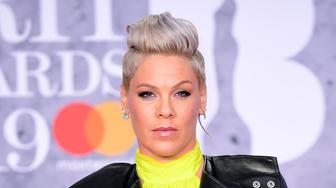 Pink attending the Brit Awards 2019 at the O2 Arena, London. (Photo by Ian West/PA Images via Getty Images)
