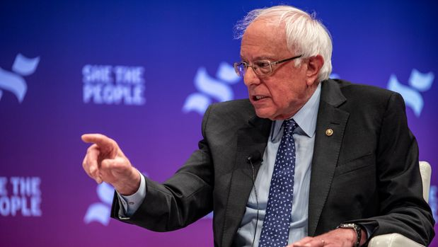 HOUSTON, TX - APRIL 24: Democratic presidential candidate Sen. Bernie Sanders (I-VT) speaks to a crowd at the She The People Presidential Forum at Texas Southern University on April 24, 2019 in Houston, Texas. Many of the Democrat presidential candidates are attending the forum to focus on issues important to women of color. (Photo by Sergio Flores/Getty Images)