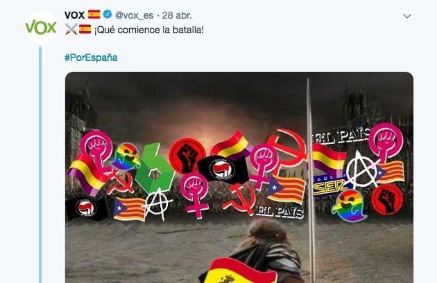 El polémico tuit de Vox el día de las elecciones se lleva la respuesta más sonada: la de Warner