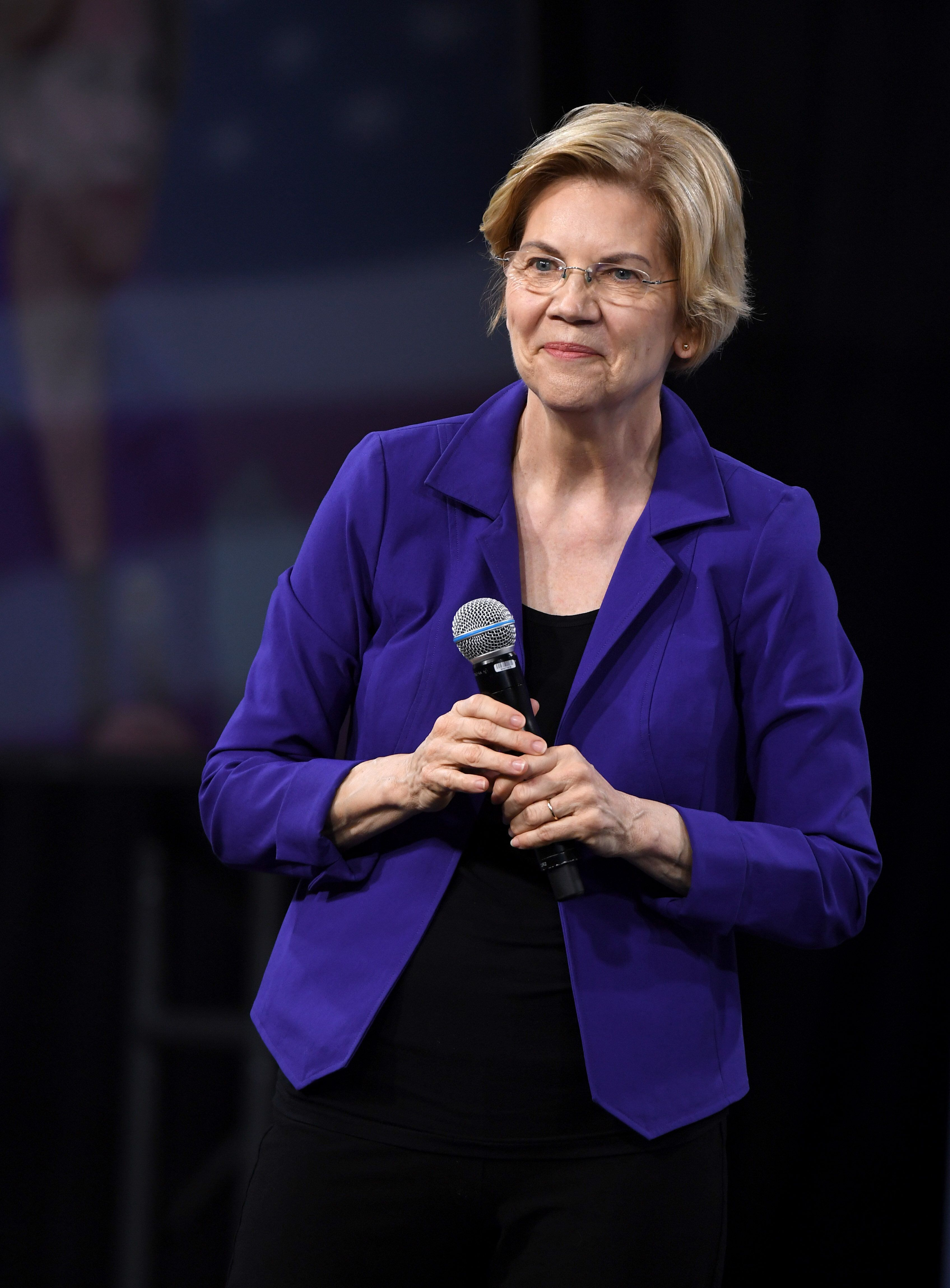 LAS VEGAS, NEVADA - APRIL 27:  Democratic presidential candidate U.S. Sen. Elizabeth Warren (D-MA) speaks at the National Forum on Wages and Working People: Creating an Economy That Works for All at Enclave on April 27, 2019 in Las Vegas, Nevada. Six of the 2020 Democratic presidential candidates are attending the forum, held by the Service Employees International Union and the Center for American Progress Action Fund, to share their economic policies.  (Photo by Ethan Miller/Getty Images)