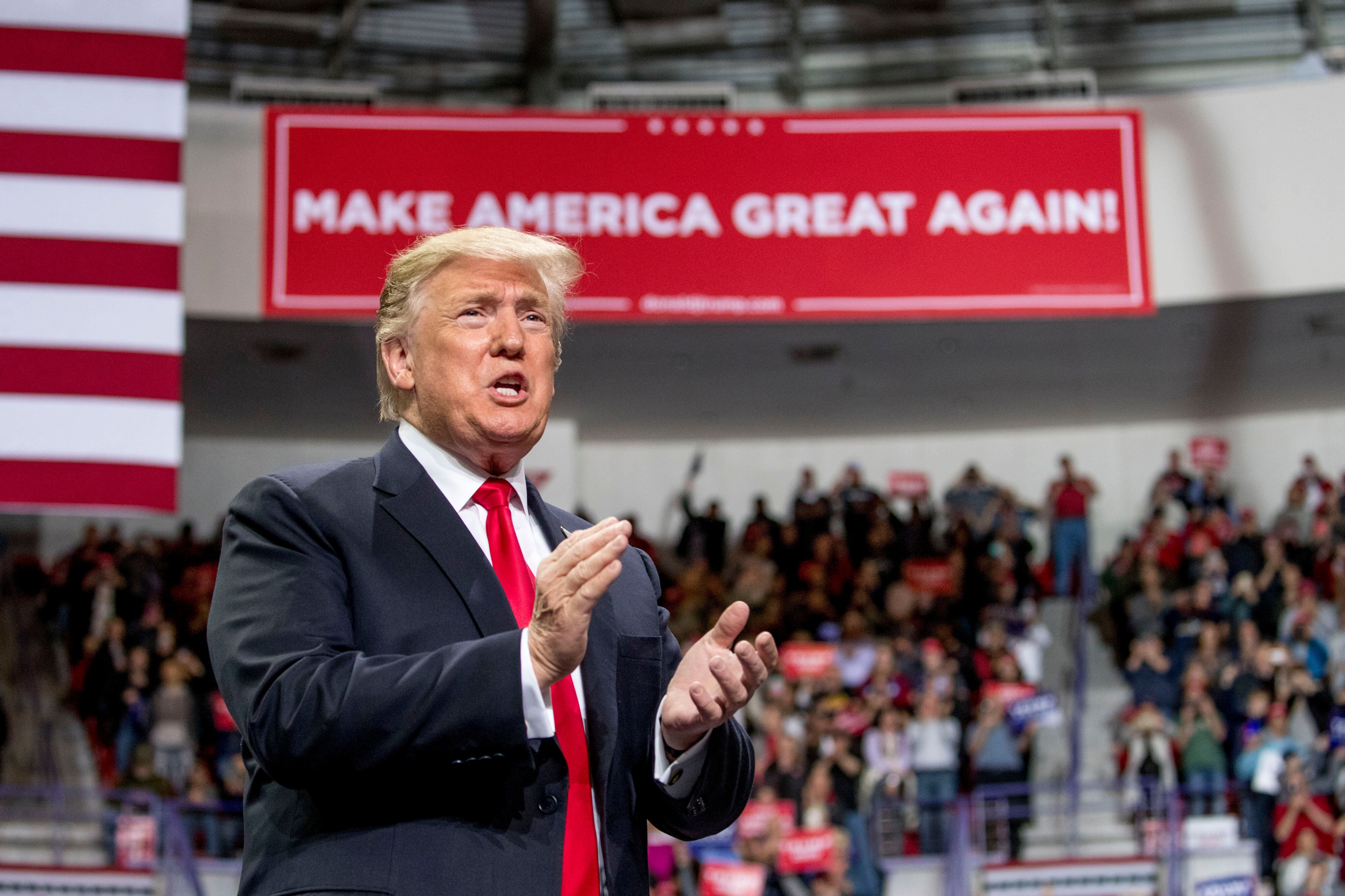 President Donald Trump arrives at a rally at Resch Center Complex in Green Bay, Wis., Saturday, April 27, 2019. (AP Photo/Andrew Harnik)