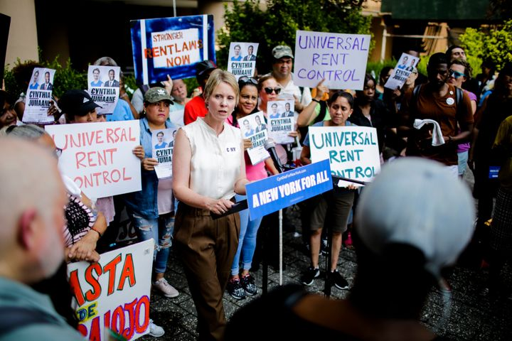 Cynthia Nixon speaks at a rally for universal rent control on Aug. 16, 2018, in New York City.