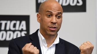 "LAS VEGAS, NEVADA - APRIL 18:  U.S. Sen. Cory Booker (D-NJ) speaks during a meet-and-greet with Young Democrats of UNLV as part of his ""Justice For All"" tour at UNLV on April 18, 2019 in Las Vegas, Nevada. Booker is campaigning for the 2020 Democratic nomination for president.  (Photo by Ethan Miller/Getty Images)"