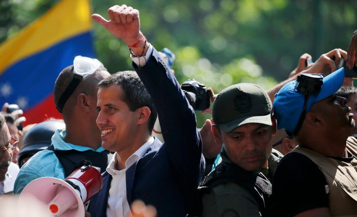 Juan Guaidó called on supporters to rise up against Maduro in a video on Tuesday.