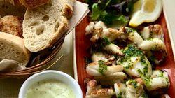 Calamares o sepia asados a la parrilla en cilantro, jengibre y ali