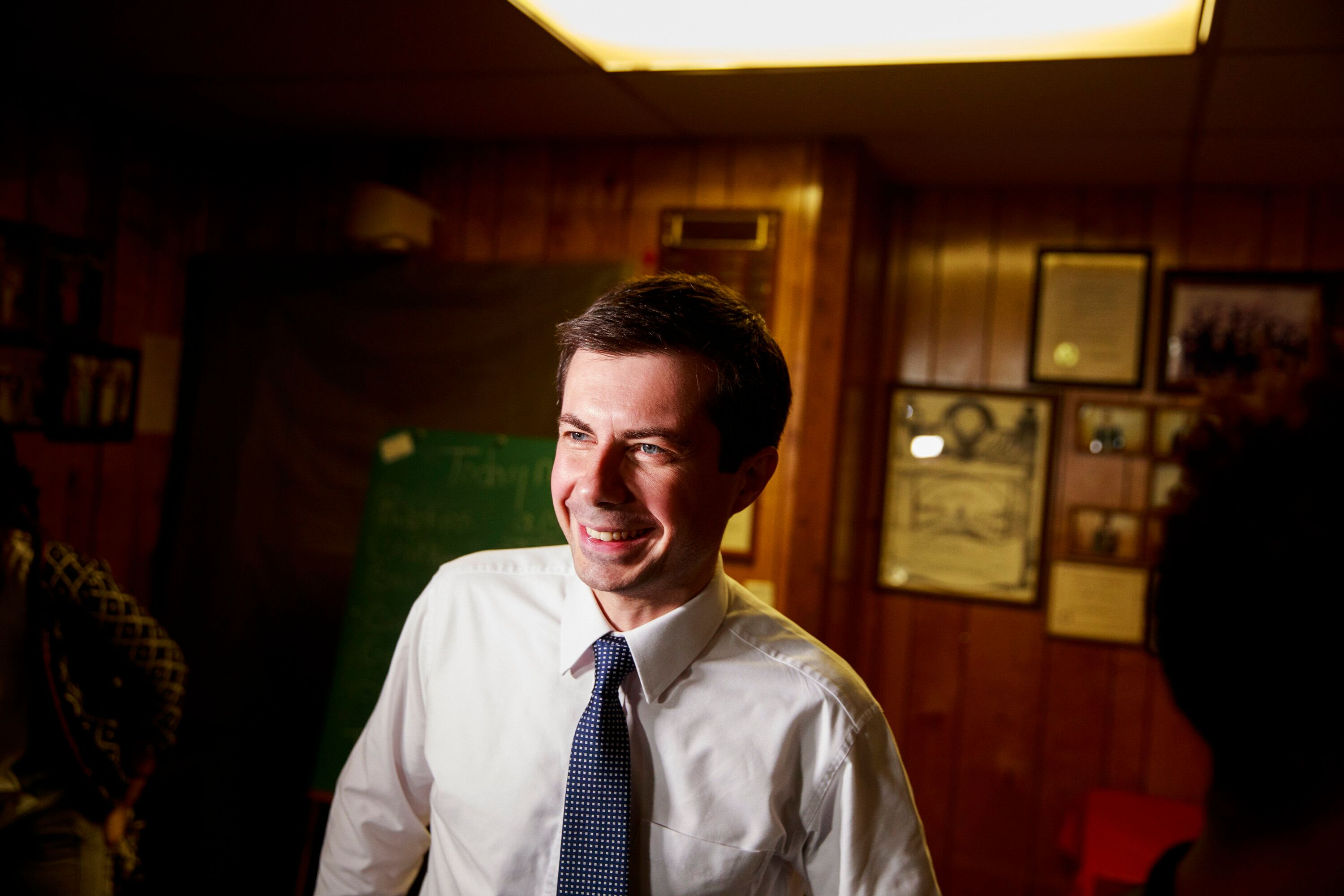 SOUTH BEND, INDIANA, UNITED STATES - 2019/04/22: South Bend, Indiana Mayor Pete Buttigieg, who is running as a Democrat for President of the United States seen attending the Dyngus Day Drive Street Renaming at the South Bend Elks Lodge. Dyngus Day is a traditional Polish holiday, but its also a time when the South Bend candidates traditionally campaigned for the office in the city since Indiana's primary election is in early May. The inside of the club was standing room only, and Buttigieg struggled to get past his crowd of supporters and some members of the media were not able to get into the building. The crowd of supporters stood inside, and after a few minutes Buttigieg exited, and was whisked away. (Photo by Jeremy Hogan/SOPA Images/LightRocket via Getty Images)