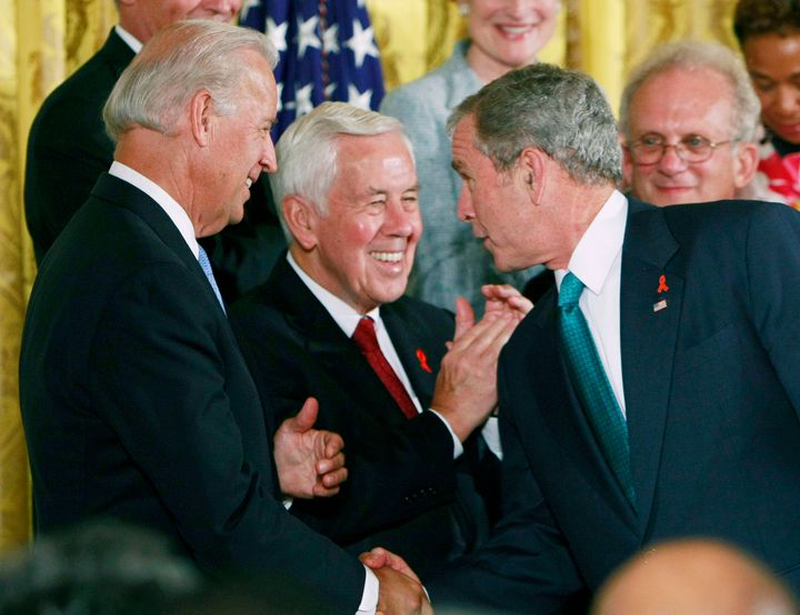 Sens. Joe Biden and Richard Lugar at a signing ceremony with President George W. Bush at the White House on July 30, 2008.