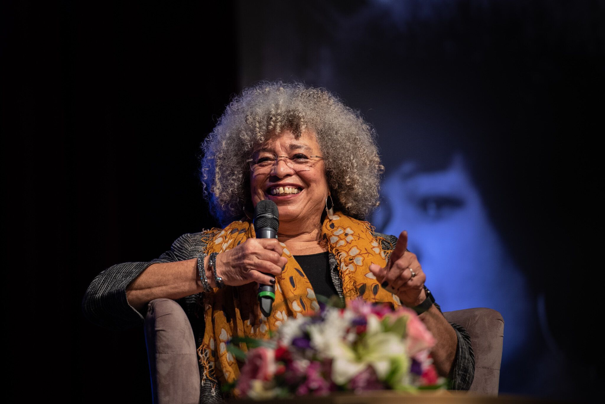 BIRMINGHAM, AL FEBRUARY 16: Angela Davis speaking at the Birmingham Committee for Truth and Reconciliation event at the Boutwell Auditorium on February 16, 2019 in Birmingham, Al. (Photo by Andi(cq)Rice/For The Washington Post via Getty Images)