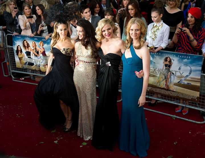 "Sarah Jessica Parker, Kristin Davis, Kim Cattrall and Cynthia Nixon at the ""Sex and the City 2"" premiere in 2010."