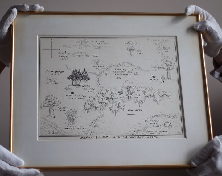 The original map of Winnie-the-Pooh's Hundred Acre Wood, drawn by E.H. Shepard, is shown at an auction in 2018.