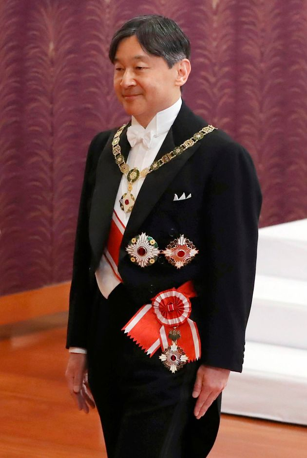 Japan's new Emperor Naruhito leaves after the ceremony to receive the Imperial regalia of sword and jewel...