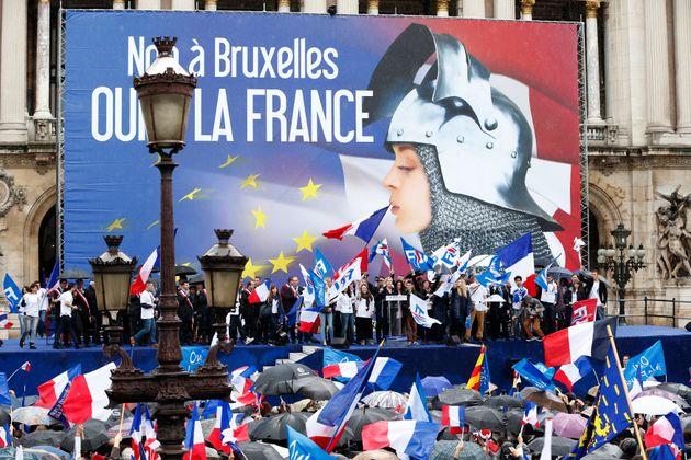 Le traditionnel meeting du Front national du 1er mai en 2014, place de l'Opéra à