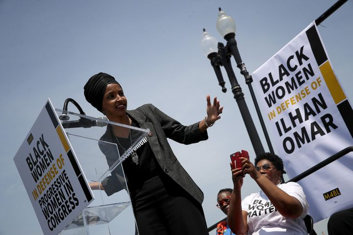 At an event outside the U.S. Capitol Tuesday, Rep. Ilhan Omar vowed to continue fighting xenophobia and Islamaphobia. ""
