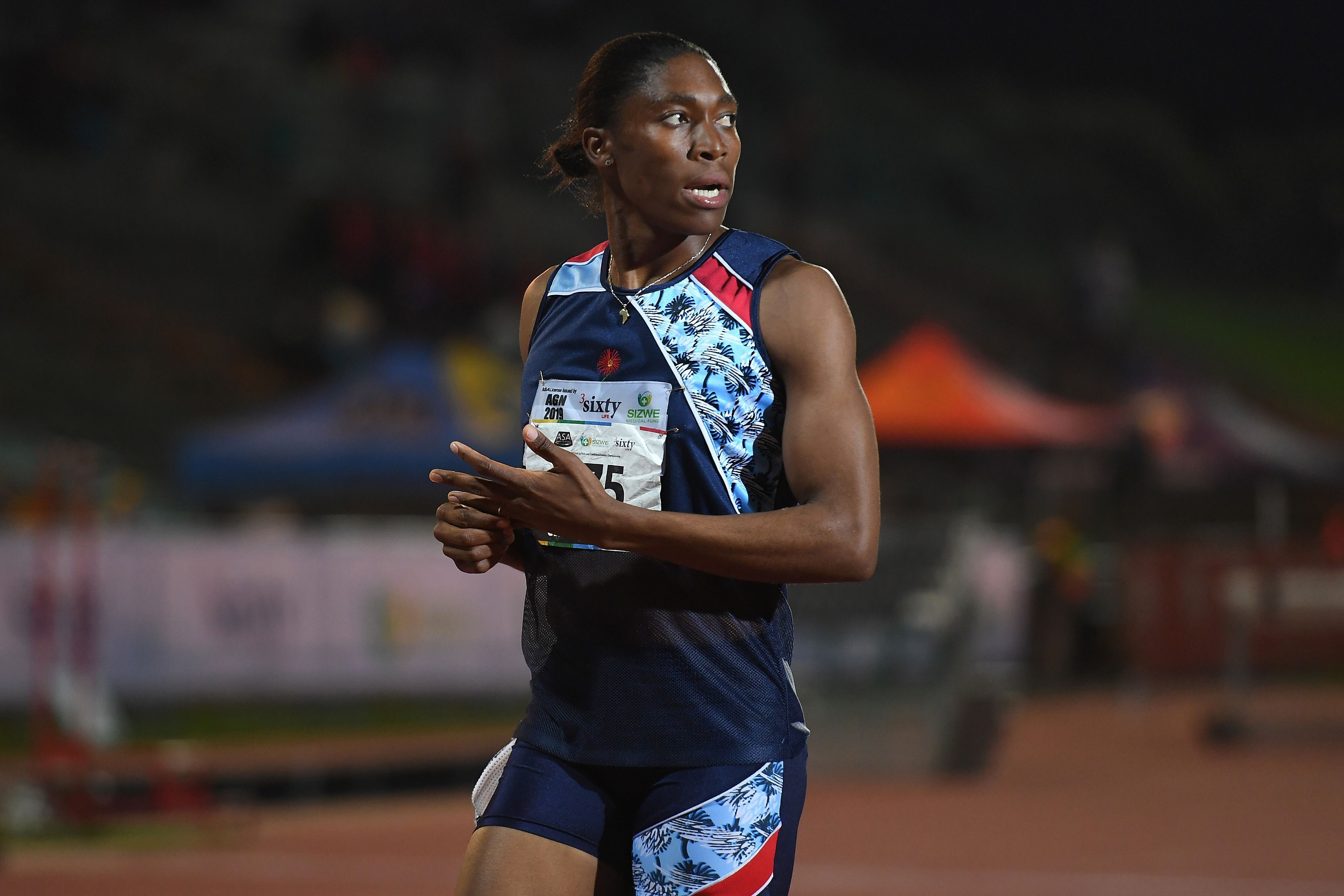 South African Olympic 800m champion Caster Semenya looks on after running the 1.500m senior women final at the ASA Senior Championships at Germiston Athletics stadium, in Germiston on the outskirts of Johannesburg, South Africa on April 26, 2019. (Photo by STRINGER / AFP)        (Photo credit should read STRINGER/AFP/Getty Images)