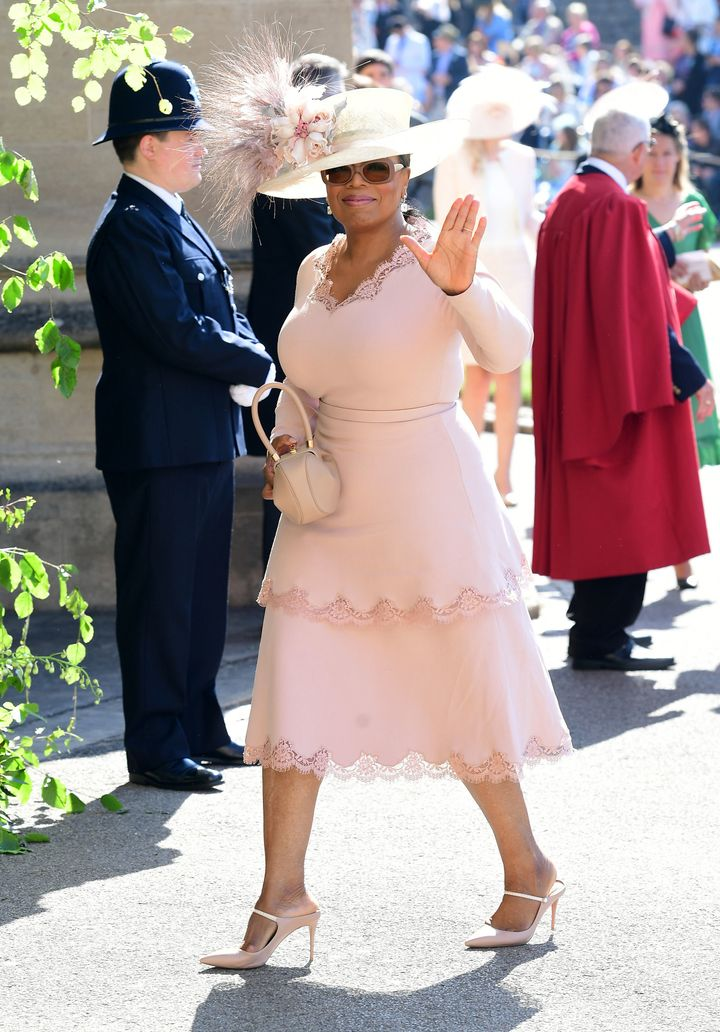 Oprah Winfrey arriving at St. George's Chapel at Windsor Castle for the wedding of Meghan Markle and Prince Harry on May 19,