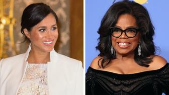 Split shot of Meghan Markle and Oprah Winfrey.