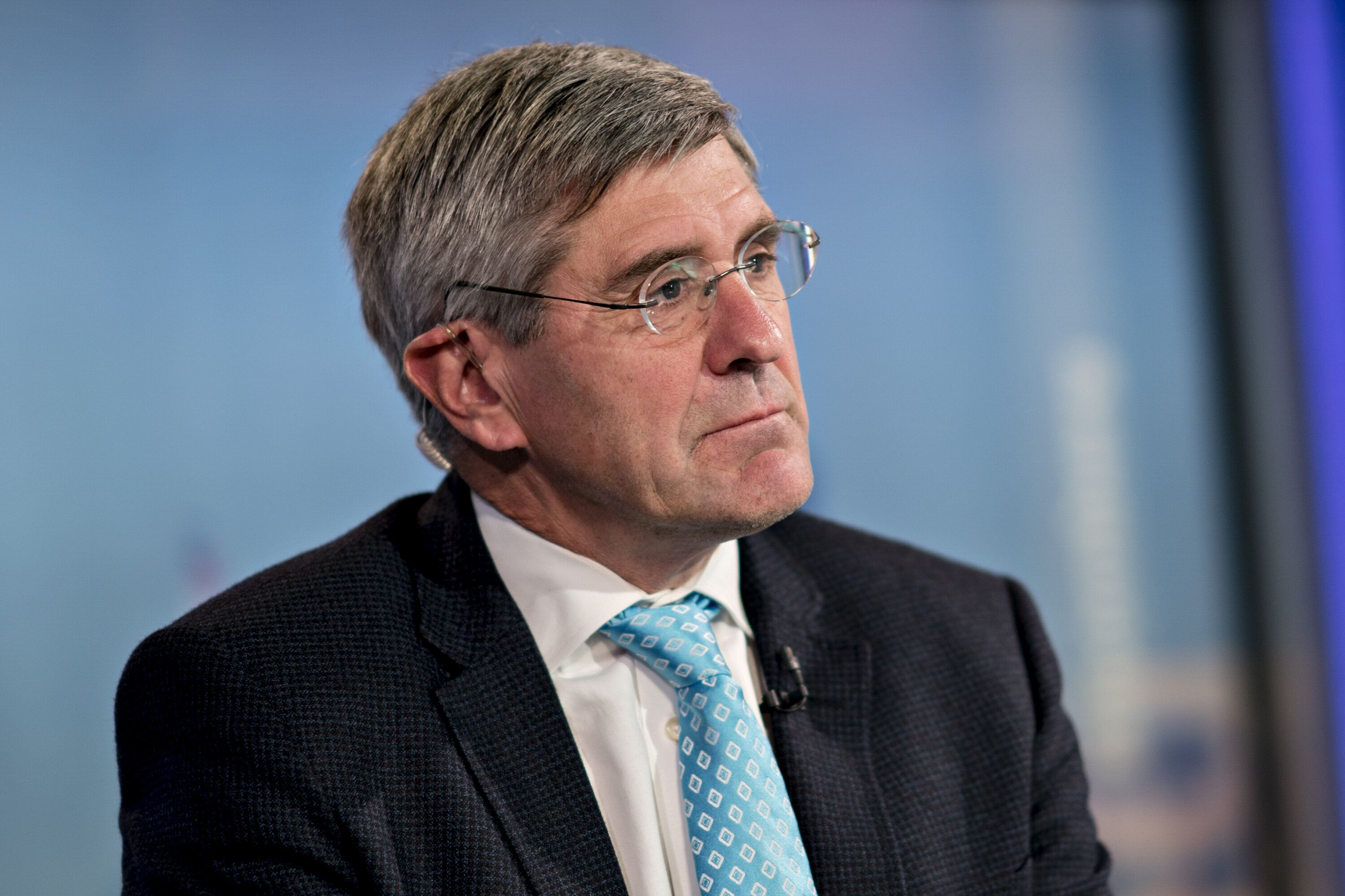 Stephen Moore, visiting fellow at the Heritage Foundation, listens during a Bloomberg Television interview in Washington, D.C., U.S., on Friday, March 22, 2019. President Donald Trump said he's nominating Moore, a long-time supporter of the president, for a seat on the Federal Reserve Board. Photographer: Andrew Harrer/Bloomberg via Getty Images