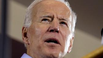 Former Vice President and Democratic presidential candidate Joe Biden speaks during a rally at the Teamster Local 249 Hall in Pittsburgh, Monday, April 29, 2019. (AP Photo/Gene J. Puskar)