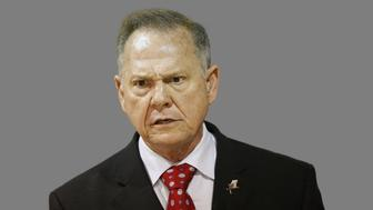 Roy Moore, as Former Alabama Chief Justice and U.S. Senate candidate, graphic element on gray