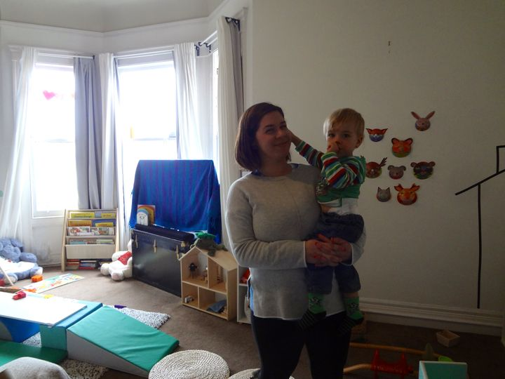 Meredith Bunyard in her home-based child care in San Francisco.