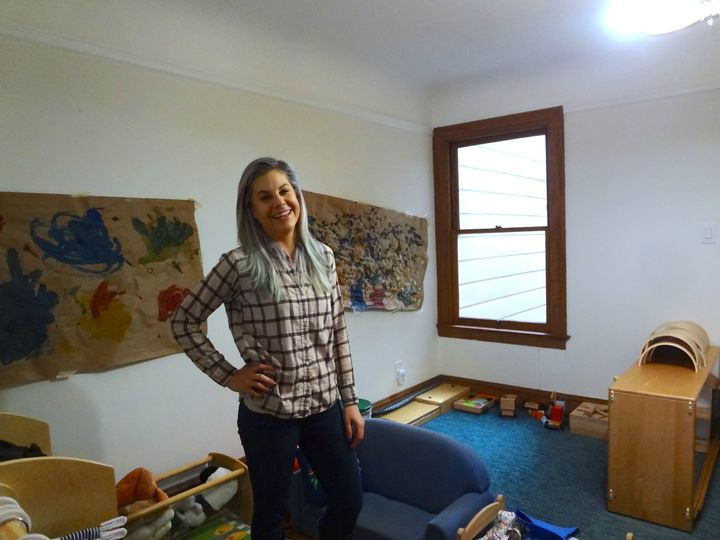 Rachele Long at her home-based child care in San Francisco.